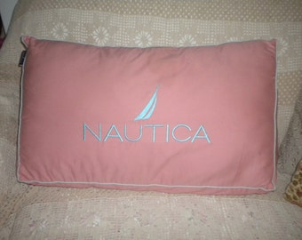 SALE....Large Pink with embroidered Robin's Egg Blue Nautica Back Pillow