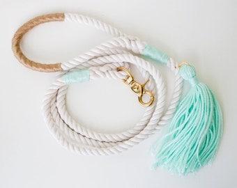 Wedding Dog Leash / Mint & Gold / Nautical Rope