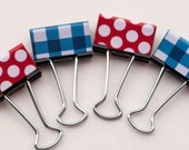 Binder Clips - Red Polka Dot and Blue Gingham