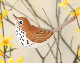 Wood Thrush Bird Handmade Sculpted Ornament decoration
