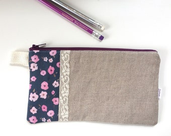 Floral Ditsy and Linen Divided Pencil Case (handmade philosophy's pattern)