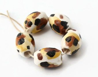 Ceramic beads, Clay Beads, African Beads, 5 beads, focal beads, leopard print, large hole beads, t-yarn beads