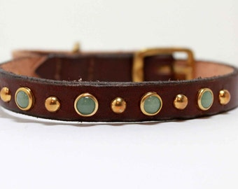 Green Aventurine Dog Collar, Small Dog Collar with Aventurine and Gold, Leather Dog Collar, Waterproof Dog Collar