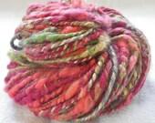 Handspun Yarn - AUTUMN FESTIVAL - Thick and Thin, Silk, Mohair, Merino, Alpaca, and Finn Elegant Whimsical Super Bulky Art Yarn - 62 yards