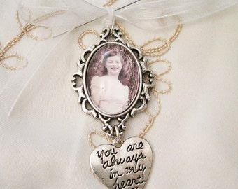 Bridal Bouquet Photo Memory Charm, You Are Always in My Heart Wedding Memory Keepsake, 2 Photo Memory Charm, Angel Memory Charm, Cross Charm