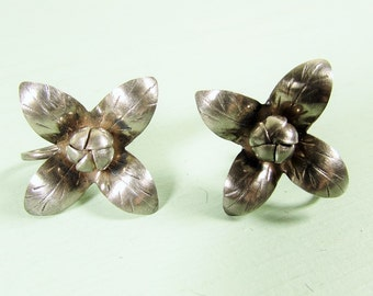 Sterling Silver Flower Earrings - Vintage Four Petal Blossom Screw On