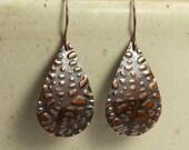 Copper Teardrop Earrings with Embossed Leaf, Dangle Earrings, Drop Earrings