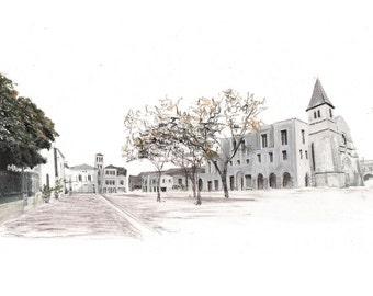 proposal for Place de l'Église, Monpazier — limited edition archival print