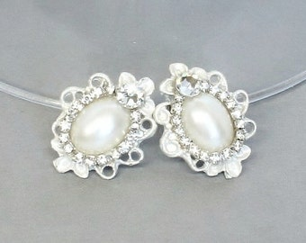 Pearl Bridal Earrings- Vintage-Inspired Statement Studs- Pearl Studs- Bridesmaid Earrings-Brass Boheme- Rhinestone earrings- Pearl Earrings