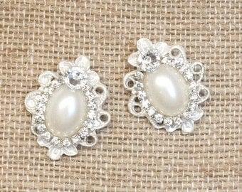 Rhinestone and Pearl Earrings- Vintage-Inspired Statement Studs- Pearl Bridal Studs- Bridesmaid Earrings- Brass Boheme- Rhinestone Earrings