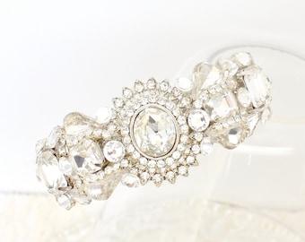 Bridal Cuff Bracelet- Rhinestone Bridal Bracelet- Rhinestone cuff- Bridal Bracelet- Statement Bracelet- Rhinestone Bridal Cuff- Brass Boheme