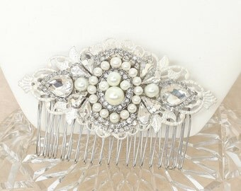 Pearl and Rhinestone Comb- Art Deco Style Hairpiece- Bridal Hair Accessories-Vintage Inspired Bridal Comb- Rhinestone & Pearl Hair Accessory
