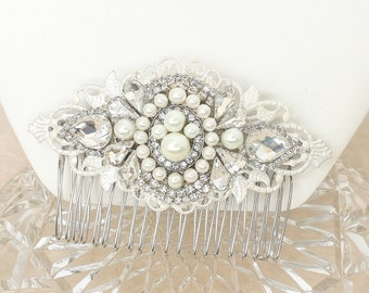 Pearl and Rhinestone Comb- Art Deco Style Hairpiece-Bridal Hair Accessories-Vintage Inspired Bridal Comb-Rhinestone and pearl hair Accessory