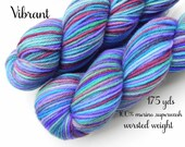 Sale - Worsted Weight yarn - Vibrant - 100% merino superwash, 175 yds