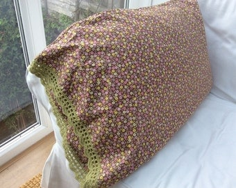 Hand made cotton pillowcase with crochet trim