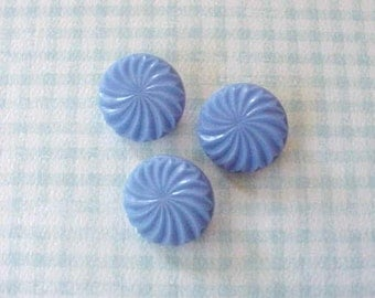 3 Pretty Sky Blue Hard Plastic 1950's Buttons