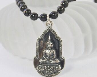 Silver Buddha Necklace . Gunmetal Chain . Unisex