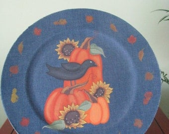 plate, pumpkins, crow, fall leaves, fall decor, denim covered, handpainted, fall, sunflowers