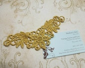 1 Gold Venise Lace Yokes Collar Appliques for jewelry, bridal, wedding, altered couture, necklaces, bridal by MarlenesAttic - APP111
