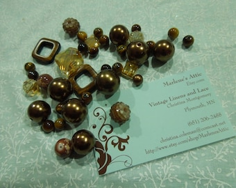 Lot of Assorted Shiny Gold Beads for jewelry, bracelet, necklaces, earrings by MarlenesAttic