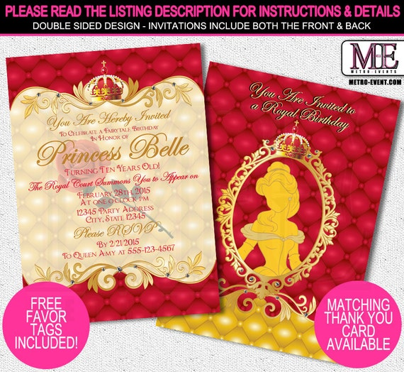 Princess belle birthday party invitations gallery invitation beauty and the beast printable silhouette birthday party invitations belle invitations princess party invitations belle birthday filmwisefo