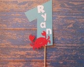 Personalized Crab Smash Cake Topper - Name Age,Red crab, Red Aqua, Nautical Party, Cake Toppers, Age Cake Topper, Kids Party, Smash cake