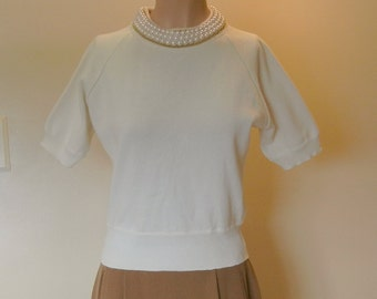 Andrea Jovine Beaded Pearl Necklace Top Blouse Shirt US Size Small Very Excellent Condition Womens Designer Couture