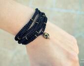Skull bracelet/Crochet bracelet/Multi cord bracelet/Gothic jewelry/Skull cuff/Goth/Black bracelet/Gifts/Gift for him/Gift for her/Mens gift
