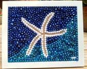 Mardi Gras bead, art, mosaic, starfish, beach, turquoise, aqua, white, sea, marine life, bead art, bayouland beads, beach decor, home, art,