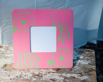 Pink and Green Octopus and Blowfish Frame