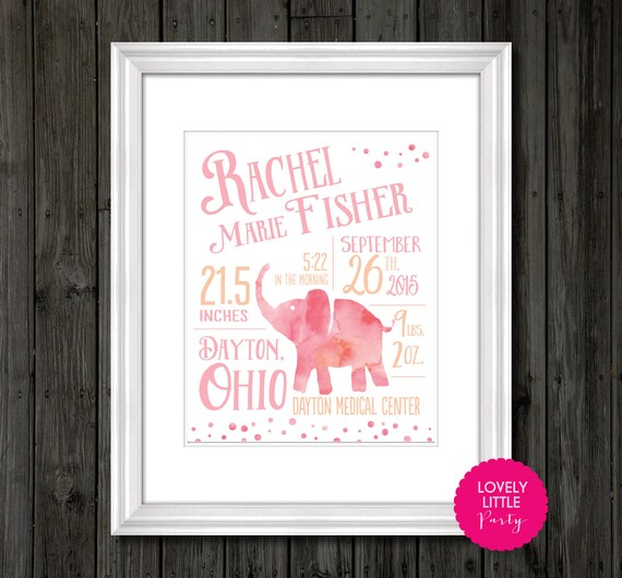 "Watercolor Elephant Theme Nursery Print, baby gift, nursery decor- Customized - 8""x10"" - LOVELY LITTLE PARTY"