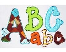 Running Stitch Applique Alphabet Embroidery Design AL014