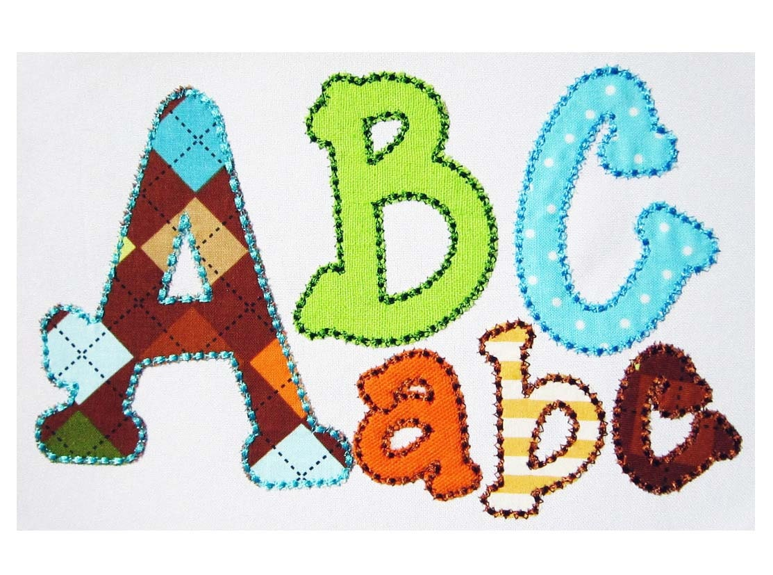 running stitch applique alphabet embroidery design al014