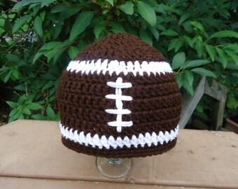 Football Hat Beanie for Baby Toddler Handmade Crochet - Photo Prop