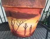 AFRICAN POT/Africa Clay Vase/ Exotic Vase / Unique Pot / Safari Style Decor / African Gift Pot / Safari Gift / Pot