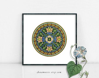 ROUND ORNAMENT - Instant Digital Download - printable antique design illustration for framing, totes, mugs, t-shirts, wall decor, cards