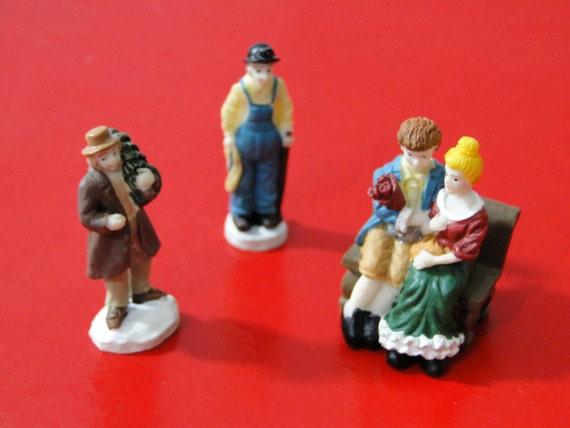 Victorian figurines miniature bisque christmas village train