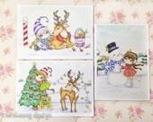 Christmas card set, festive cards, xmas blank cards, snowman card, reindeer and elves, christmas tree, art cards, seasonal cards, 5x7 inches