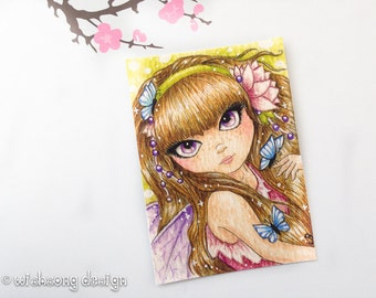Fairy aceo print, miniature painting, big eyed girl art, fairy painting, fantasy aceo, artist trading card, whimsical 2.5 x 3.5 inch print