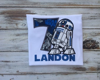 R2D2 shirt, R2D2 appliqué, R2D2 birthday shirt, 7th birthday shirt, 5th birthday shirt, 6th birthday shirt, boys birthday star wars shirt