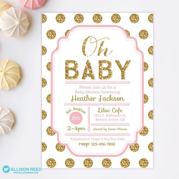 pink and gold baby shower invitation glitter baby shower by, Baby shower