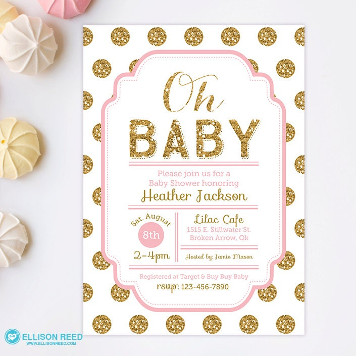 pink and gold baby shower invitation glitter baby shower