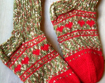 Julia -Hand knit wool/ boot socks Womens teens girls Cosy boot socks Red green Autumn Winter Warm Christmas Gift idea Handmade in FINLAND