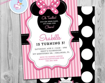 Minnie Mouse Birthday Invitations   Printable Girls Party Invitation    Pink Stripes Black Polka Dots   See our Shop for Minnie Decorations