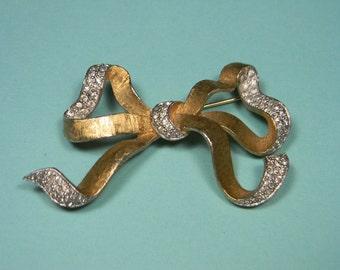 Vintage Rhinestone Bow Brooch or Pin, Elegant Feminine