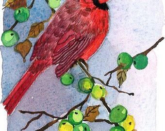 ACEO Limited Edition 1/25-A match made in heaven, Cardinal Art print of an ACEO originalWATERCOLOR,Gift for bird lovers & Housewarming party