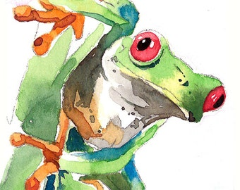 ACEO Limited Edition 3/25 -A frog, Animal miniature painting, Art card of an original ACEO watercolor, Gift for animal lovers