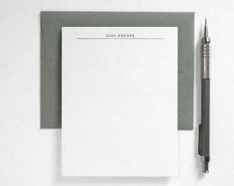 Modern Letterpress Stationery Set - Custom Flat Note Card Set - Transatlantic