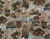 Vintage Patriotic American Revolution Medium Weight Cotton Yardage 2 1/4 Yards