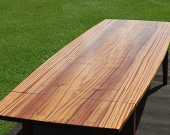 "Dining Table, Book-Matched, Solid Ribbon-Grained Sapele, 11 Feet long X 46"" wide, (8' main table with two, 18"" ""Company Board"" extensions)"